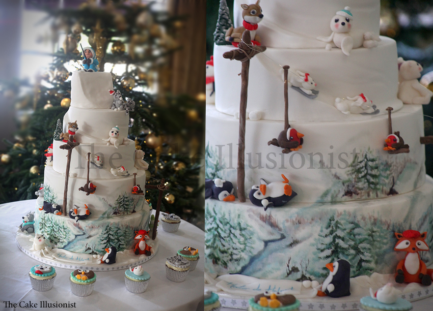 Winter Wonderland Christening Cake