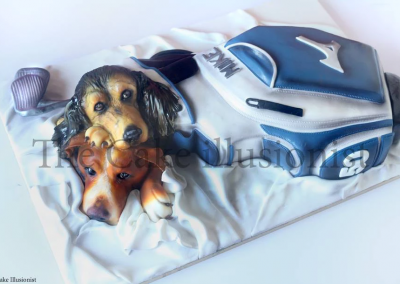 Golf Bag and Dogs 50th - Golf bag cake a pair of cake dog stow-aways
