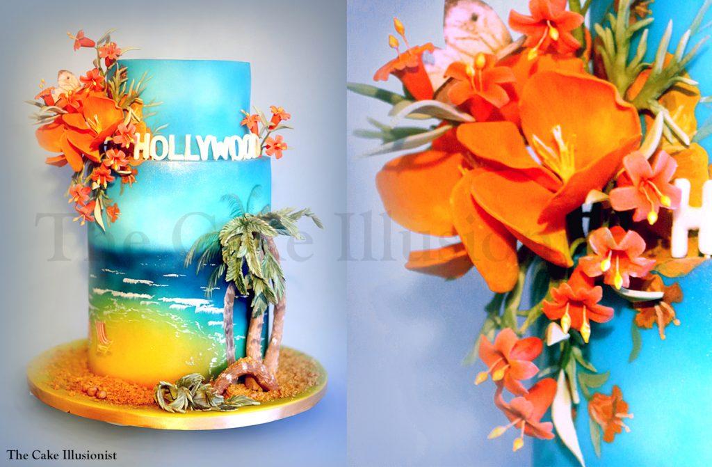 Tropical Cake Beach Wedding Orange Flowers