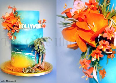 Tropical Cake Beach Wedding Orange Flowers