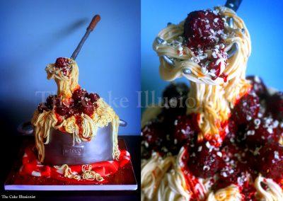 Spaghetti Meatball Cake