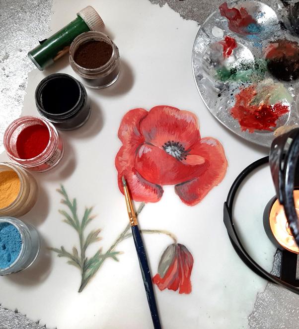 cake decorating tutorial, flower painting, british wildlife, poppy